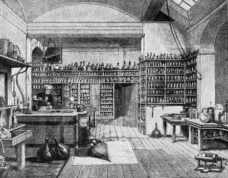 Faraday in his laboratory at the Royal Institution in London, vi