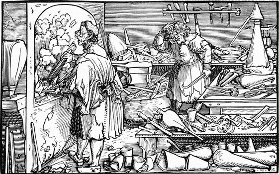 Alchemist laboratory, vintage engraved illustration. From the Universe and Humanity, 1910.