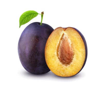 Plums isolated on white background with clipping path