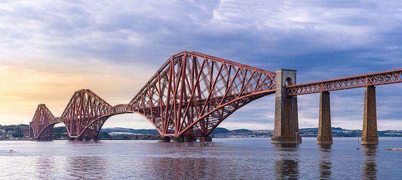 Panoramic view, The Forth bridge, UNESCO world heritage site railway bridge in Edinburgh Scotland UK.