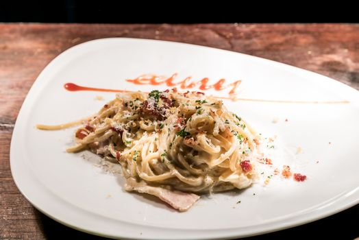 gourmet spaghetti carbonara italian cuisine