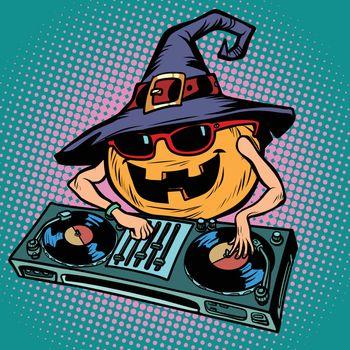 Halloween pumpkin DJ character. Musical holiday party