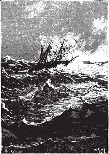 A more violent gust struck right now, vintage engraving.