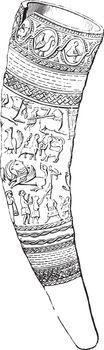 Drinking horn Attila, vintage engraving.