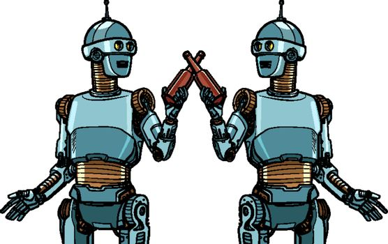 robots drink beer. cheers toast to the meeting