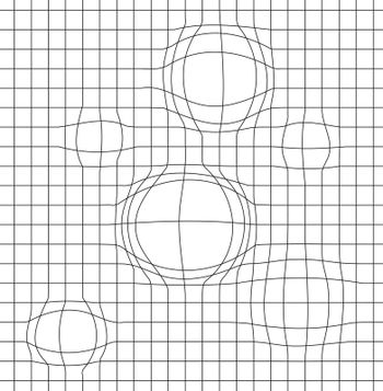 Geometric background with a grid and a distortion in the form of