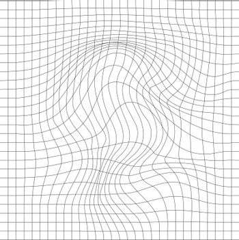 Geometric background with a waving grid and a distortion in the form of blowing. Vector illustration