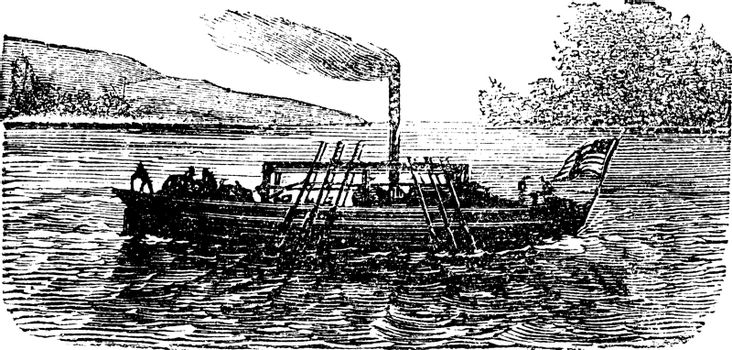 The Steam Boat, experiment, by  John Fitch, USA, 1786, vintage e