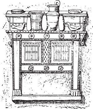 Crockery load buffet, vintage engraving.