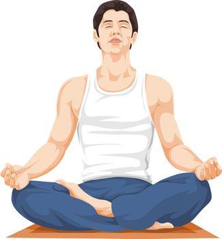 Vector illustration of man performing yoga.