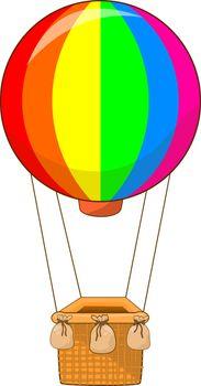 Colorful air balloon on a white background. Cartoon air balloon.