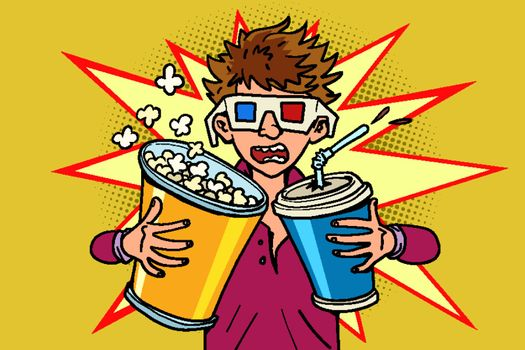 scared boy in stereo glasses at the cinema with popcorn and cola