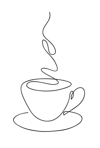Cup cup of coffee continuous line art hand drawing. Coffee house logo. Outline style drawn sketch vector illustration