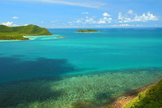 Beautiful blue seascape at Chonburi province, Gulf of Thailand.