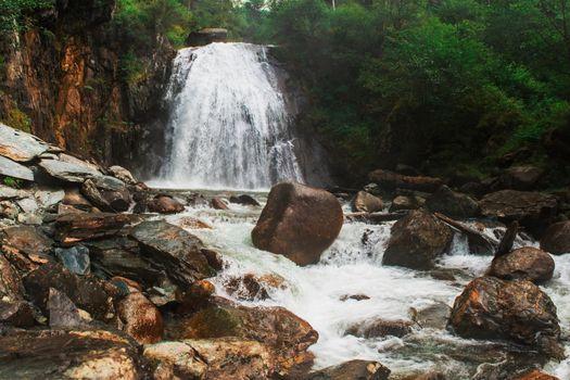 Korbu Waterfall at Lake Teletskoye