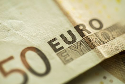 50 Euro Money Banknotes, Euro Currency, Macro Details of Fifty Euro Banknote, Cash, Bill Concept, High Resolution Photo
