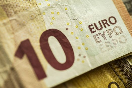 10 Euro Money Banknotes, Euro Currency, Macro Details of Ten Euro Banknote, Cash, Bill Concept, High Resolution Photo
