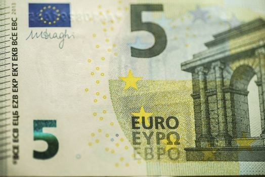 5 Euro Money Banknotes, Euro Currency, Macro Details of Five Euro Banknote, Cash, Bill Concept, High Resolution Photo