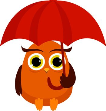 Owl with umbrella, illustration, vector on white background.