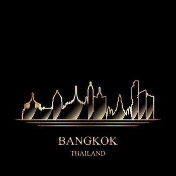 Gold silhouette of Bangkok on black background