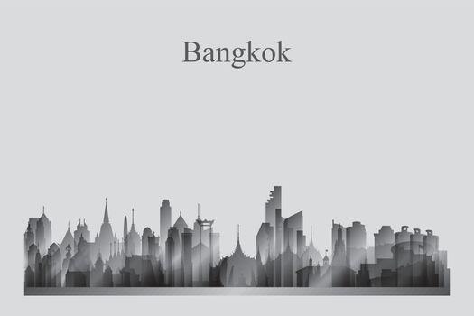 Bangkok city skyline silhouette in grayscale