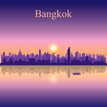 Bangkok city silhouette on sunset background