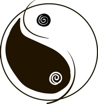 Yin yang, illustration, vector on white background.