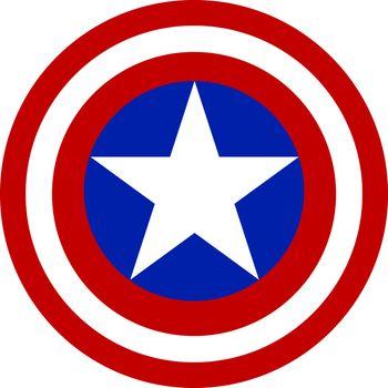 Captain America shield, illustration, vector on white background