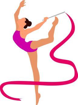 Rhythmic gymnastics, illustration, vector on white background.