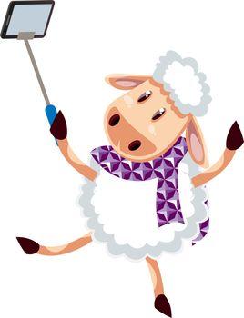 Sheep making selfie, illustration, vector on white background.