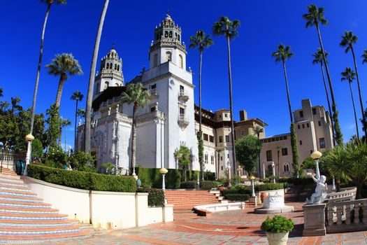 San Simeon, CA, USA - 21 October 2012: Randolph Hurst castle, the Disneyland of art at the hills of San Simeon. CA, USA