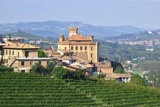 Barolo castle with vineyards