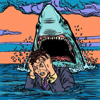 The shark attacks the businessman. Man afraid