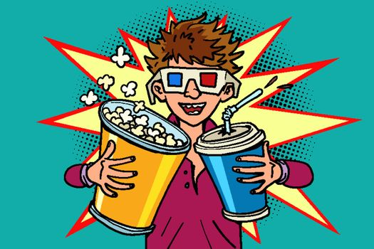 laughing boy in stereo glasses at the cinema with popcorn and cola. Comic cartoon pop art retro vector illustration drawing