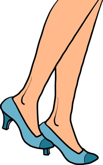woman goes close-up feet in shoes. Comic cartoon pop art retro vector illustration drawing