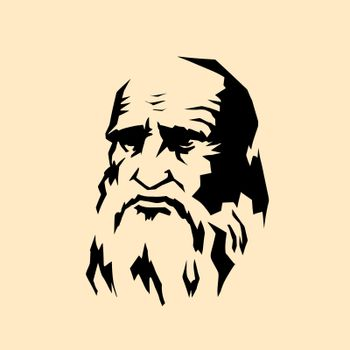Leonardo da Vinci stylized portrait. The artist sculptor scientist engineer of the Renaissance. comic cartoon pop art retro vector illustration drawing