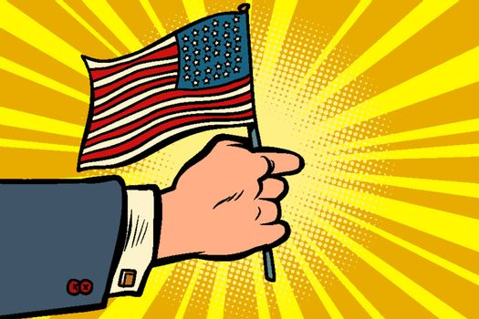 hand with the American flag. Independence day. Patriotic symbol