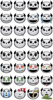 Thirty-two 32 Halloween Emojis social media icon faces of emotion skulls