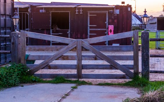closed wooden gate, vintage architecture, privacy and safety equipment for private terrain
