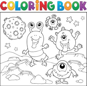 Coloring book monsters in space theme 2 - eps10 vector illustration.