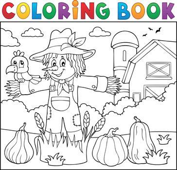 Coloring book scarecrow theme 2 - eps10 vector illustration.