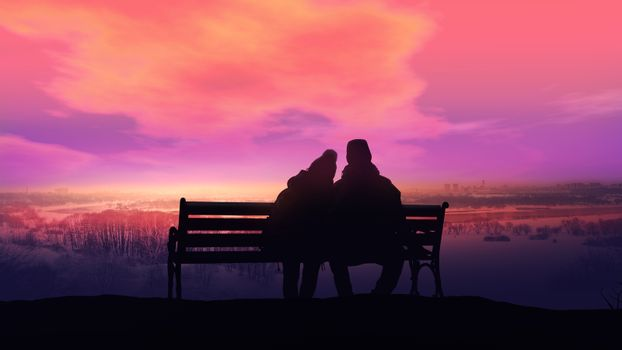 Couple on a bench looks at a winter landscape.