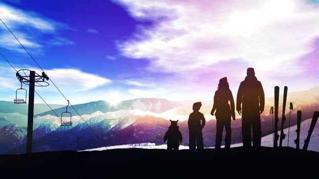 Family on a ski slope at sunset.