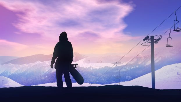 Snowboarder watching the sunset over the mountains.