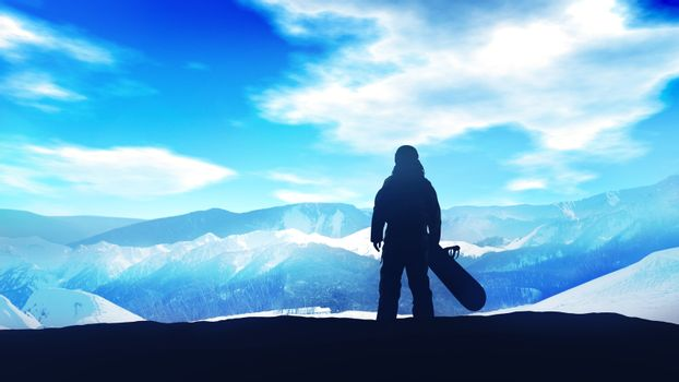 Dark silhouette of a snowboarder on a background of snowy mountains.