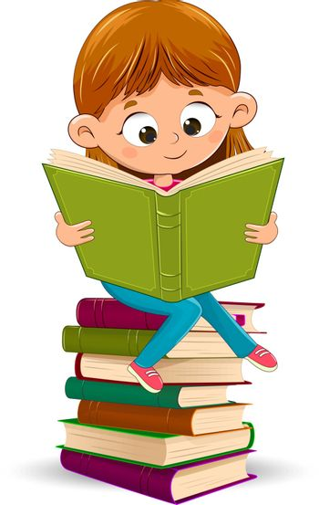 Little girl with a book in her hands. A girl is reading a book. Girl sitting on a stack of books.