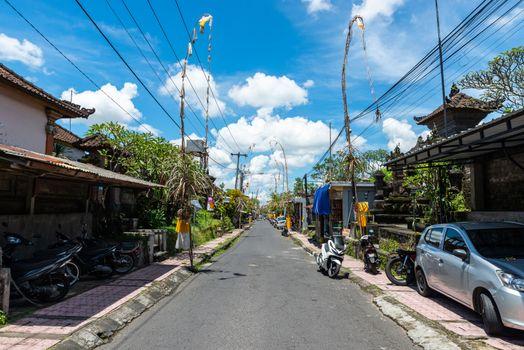 Small empty street in Ubud, Bali, Indonesia