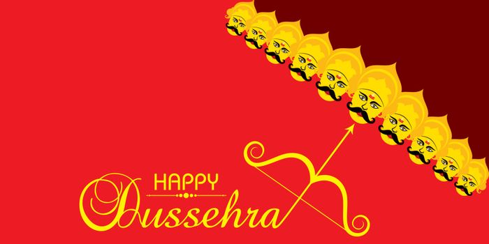 Illustration of Greeting for Happy or Shubh Dussehra Festival