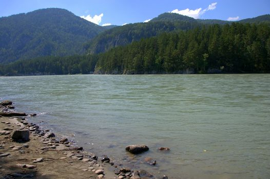 The rocky shore of a calm river on a background of high mountains. Altai, Siberia, Russia.