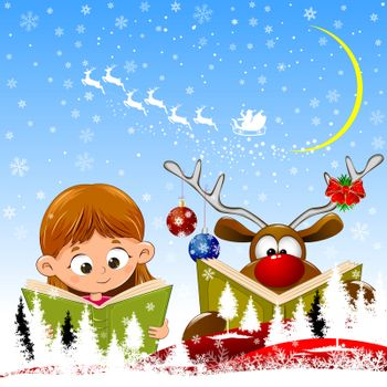 Little girl and a deer with a book in their hands. Christmas scene. Santa on a sleigh with deers. Winter night, snowflakes and snowy forest.
